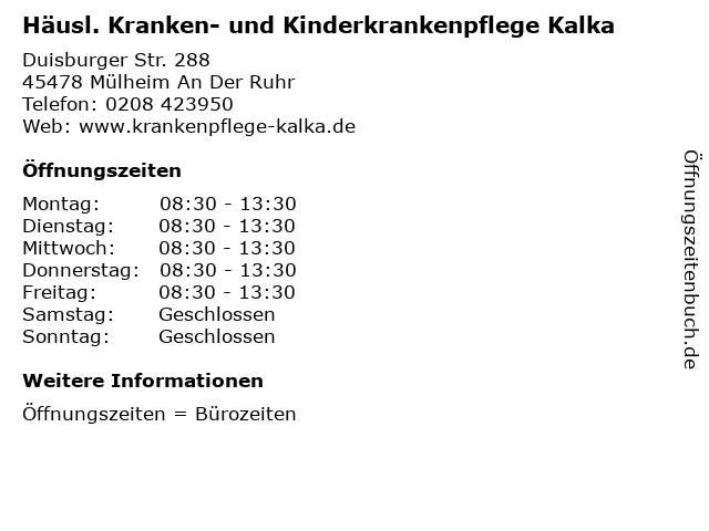 Häusl. Kranken- und Kinderkrankenpflege Kalka in Mülheim An Der Ruhr: Adresse und Öffnungszeiten