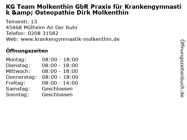KG Team Molkenthin GbR Praxis für Krankengymnastik & Osteopathie Dirk Molkenthin in Mülheim An Der Ruhr: Adresse und Öffnungszeiten