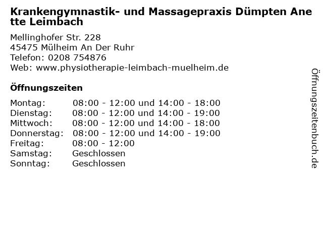 Krankengymnastik- und Massagepraxis Dümpten Anette Leimbach in Mülheim An Der Ruhr: Adresse und Öffnungszeiten