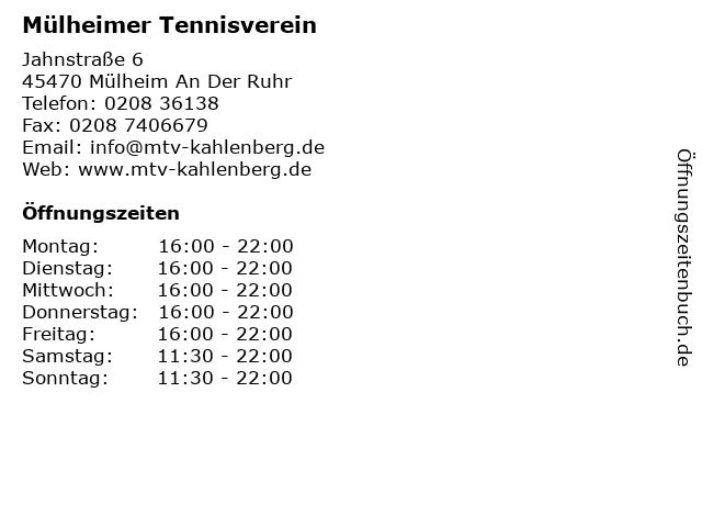 Mülheimer Tennisverein in Mülheim An Der Ruhr: Adresse und Öffnungszeiten