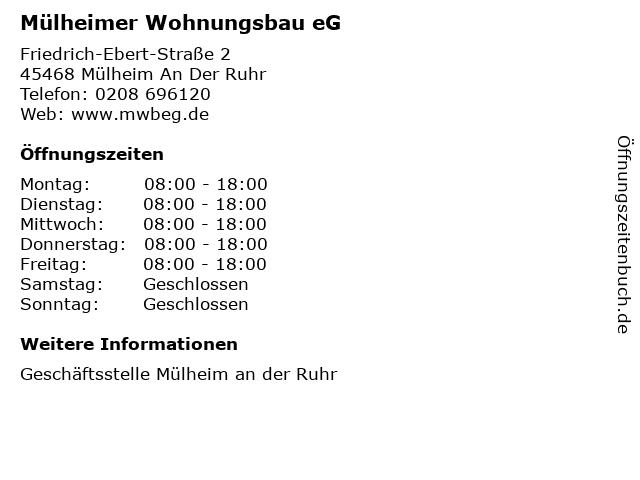 Mülheimer Wohnungsbau eG in Mülheim An Der Ruhr: Adresse und Öffnungszeiten