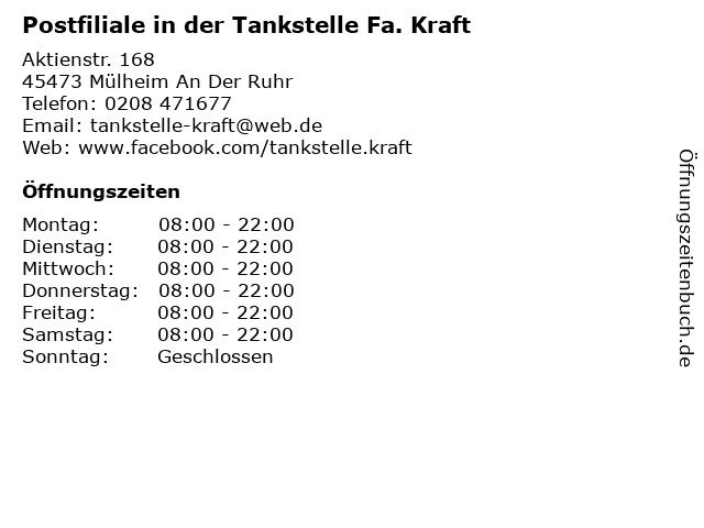 Postfiliale in der Tankstelle Fa. Kraft in Mülheim An Der Ruhr: Adresse und Öffnungszeiten