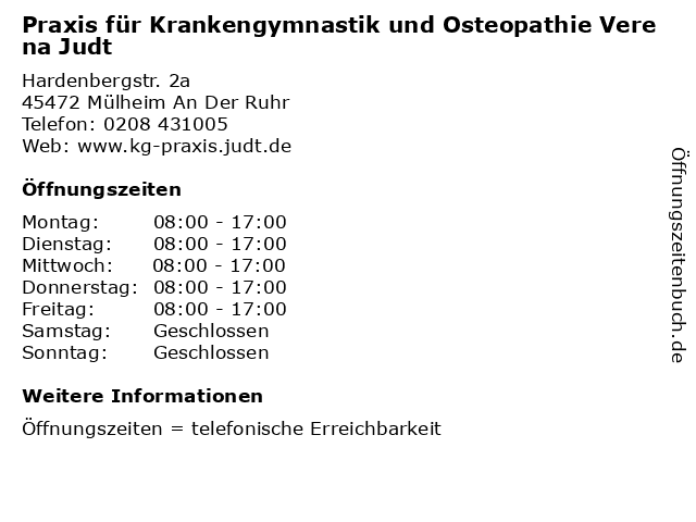 Praxis für Krankengymnastik und Osteopathie Verena Judt in Mülheim An Der Ruhr: Adresse und Öffnungszeiten