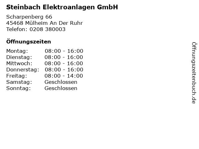 Steinbach Elektroanlagen GmbH in Mülheim An Der Ruhr: Adresse und Öffnungszeiten