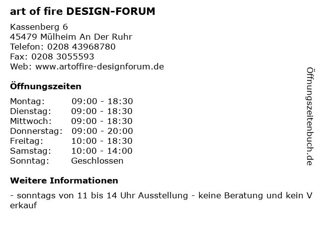 art of fire DESIGN-FORUM in Mülheim An Der Ruhr: Adresse und Öffnungszeiten