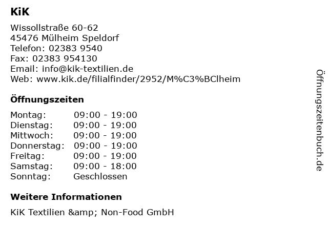 KiK in Mülheim Speldorf: Adresse und Öffnungszeiten