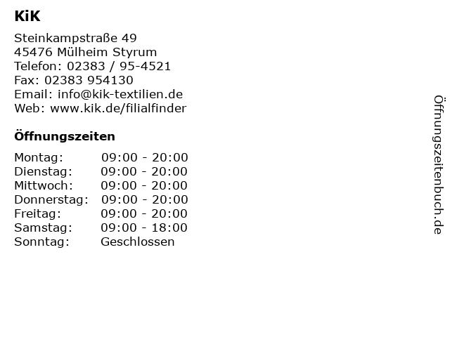 KiK in Mülheim Styrum: Adresse und Öffnungszeiten