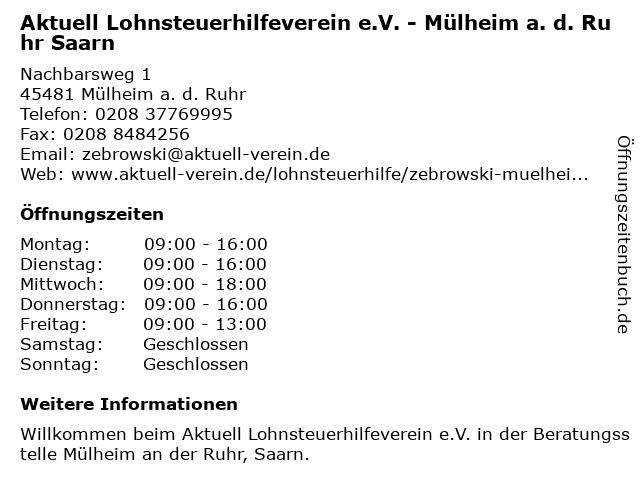 Aktuell Lohnsteuerhilfeverein e.V. - Mülheim a. d. Ruhr Saarn in Mülheim a. d. Ruhr: Adresse und Öffnungszeiten