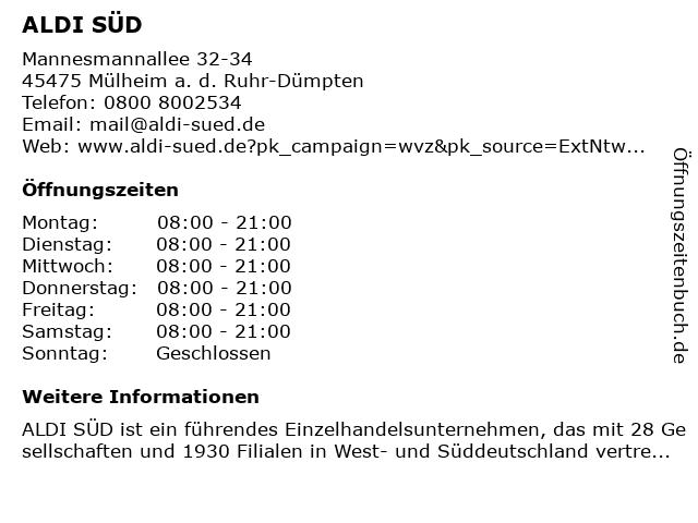 ALDI SÜD in Mülheim a. d. Ruhr-Dümpten: Adresse und Öffnungszeiten