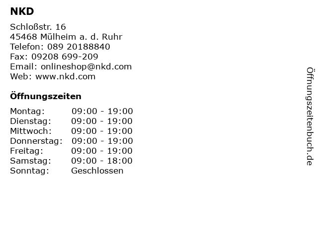 NKD in Mülheim a. d. Ruhr: Adresse und Öffnungszeiten