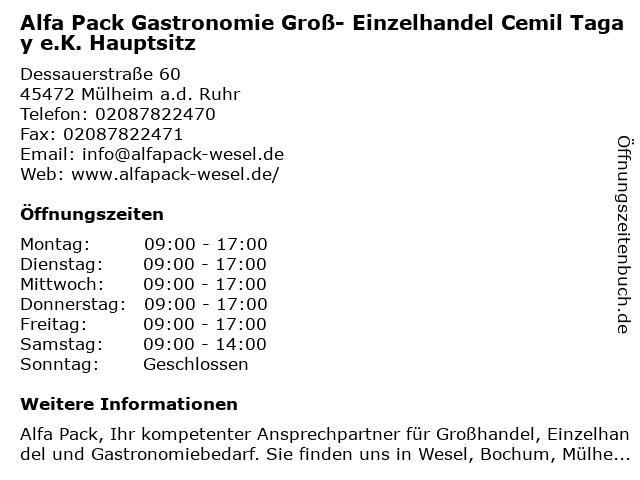 Alfa Pack Gastronomie Groß- Einzelhandel Cemil Tagay e.K. Hauptsitz in Mülheim a.d. Ruhr: Adresse und Öffnungszeiten