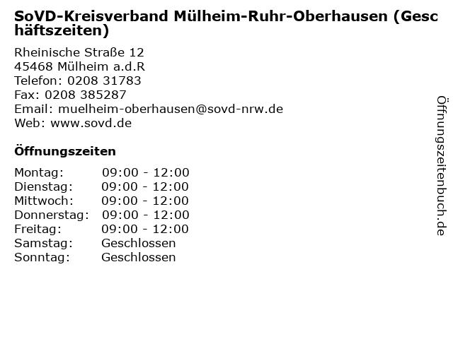 SoVD-Kreisverband Mülheim-Ruhr-Oberhausen (Geschäftszeiten) in Mülheim a.d.R: Adresse und Öffnungszeiten