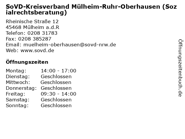 SoVD-Kreisverband Mülheim-Ruhr-Oberhausen (Sozialrechtsberatung) in Mülheim a.d.R: Adresse und Öffnungszeiten
