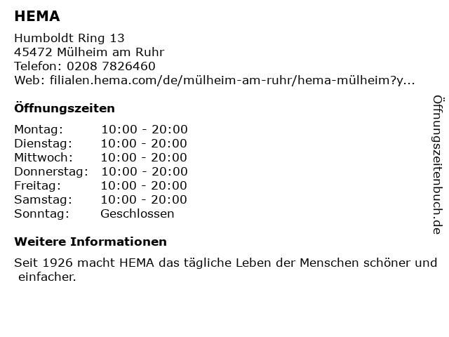 HEMA in Mülheim am Ruhr: Adresse und Öffnungszeiten