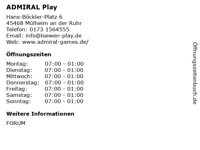 ADMIRAL Play in Mülheim an der Ruhr: Adresse und Öffnungszeiten