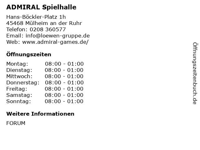 ADMIRAL Spielhalle in Mülheim an der Ruhr: Adresse und Öffnungszeiten