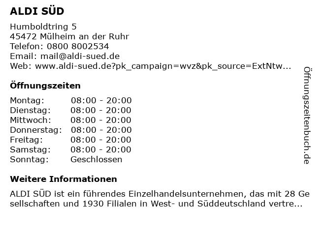 ALDI SÜD in Mülheim an der Ruhr: Adresse und Öffnungszeiten