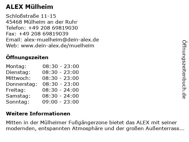 ALEX Mülheim in Mülheim an der Ruhr: Adresse und Öffnungszeiten