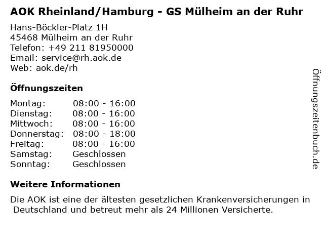 AOK Rheinland/Hamburg - GS Mülheim an der Ruhr in Mülheim an der Ruhr: Adresse und Öffnungszeiten