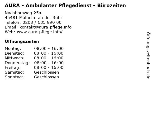 AURA - Ambulanter Pflegedienst - Bürozeiten in Mülheim an der Ruhr: Adresse und Öffnungszeiten