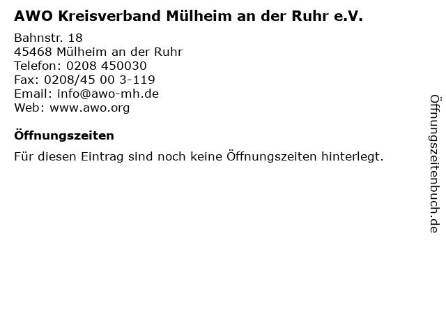 AWO Kreisverband Mülheim an der Ruhr e.V. in Mülheim an der Ruhr: Adresse und Öffnungszeiten