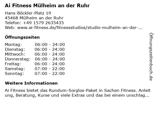 A.I. Fitness Mülheim GmbH in Mülheim an der Ruhr: Adresse und Öffnungszeiten