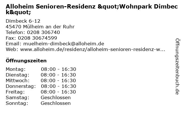 """Alloheim Senioren-Residenz """"Wohnpark Dimbeck"""" in Mülheim an der Ruhr: Adresse und Öffnungszeiten"""