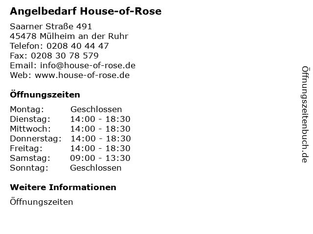 Angelbedarf House-of-Rose in Mülheim an der Ruhr: Adresse und Öffnungszeiten