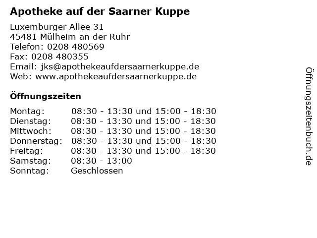 Apotheke auf der Saarner Kuppe in Mülheim an der Ruhr: Adresse und Öffnungszeiten