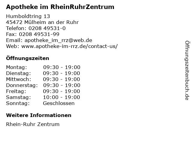 Apotheke im RheinRuhrZentrum in Mülheim an der Ruhr: Adresse und Öffnungszeiten