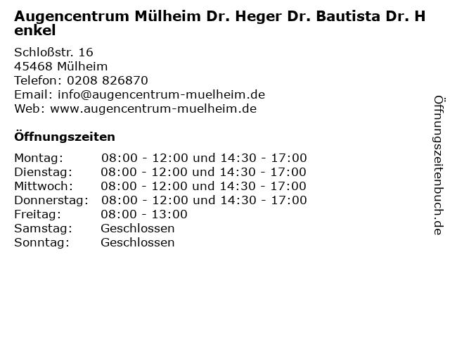 Augencentrum Mülheim Dr. Heger Dr. Bautista Dr. Henkel in Mülheim an der Ruhr: Adresse und Öffnungszeiten