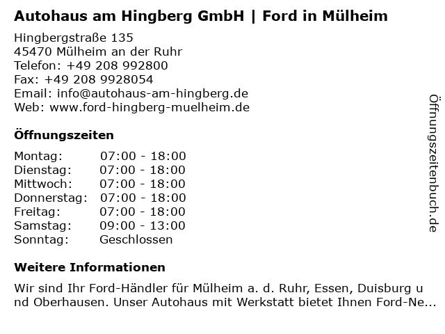Autohaus am Hingberg GmbH in Mülheim an der Ruhr: Adresse und Öffnungszeiten