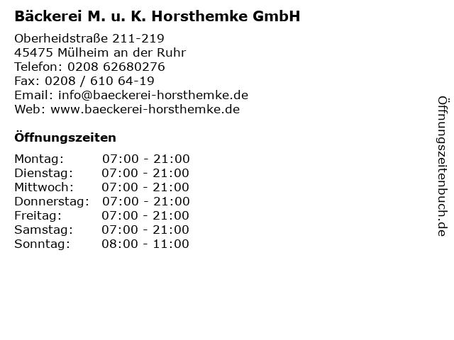 Bäckerei M. u. K. Horsthemke GmbH in Mülheim an der Ruhr: Adresse und Öffnungszeiten
