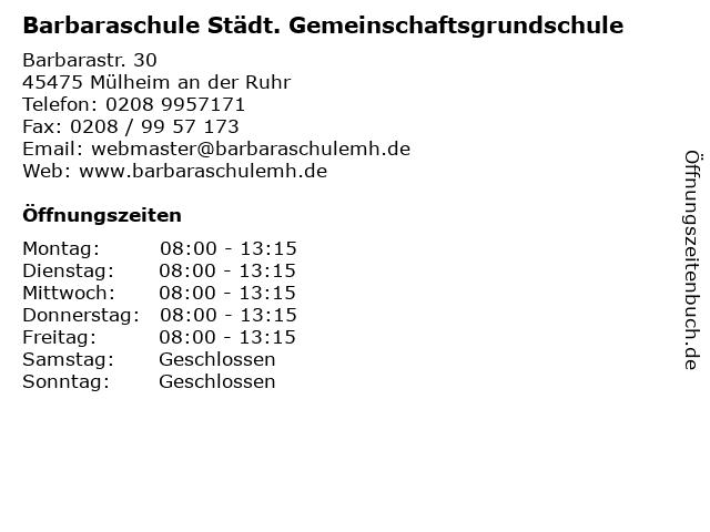 Barbaraschule Städt. Gemeinschaftsgrundschule in Mülheim an der Ruhr: Adresse und Öffnungszeiten