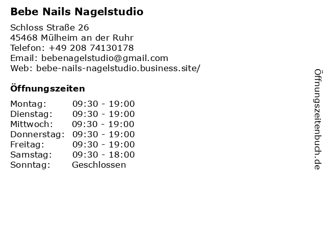 Bebe Nails Nagelstudio in Mülheim an der Ruhr: Adresse und Öffnungszeiten