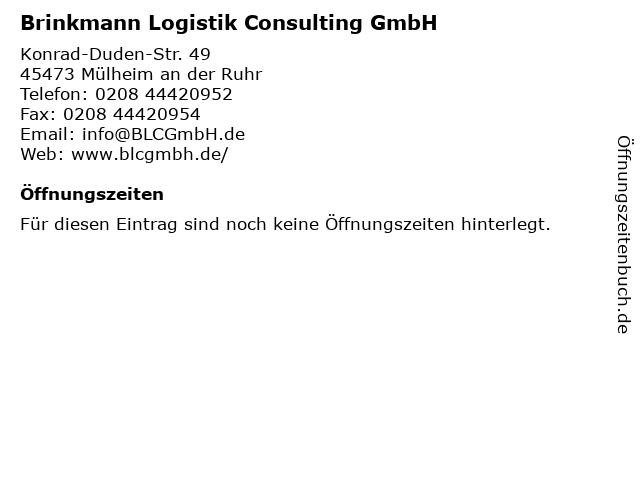 Brinkmann Logistik Consulting GmbH in Mülheim an der Ruhr: Adresse und Öffnungszeiten