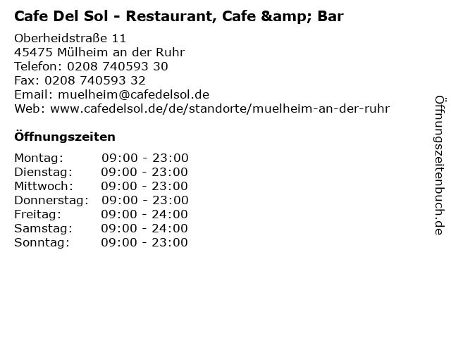 Cafe Del Sol Mülheim in Mülheim an der Ruhr: Adresse und Öffnungszeiten