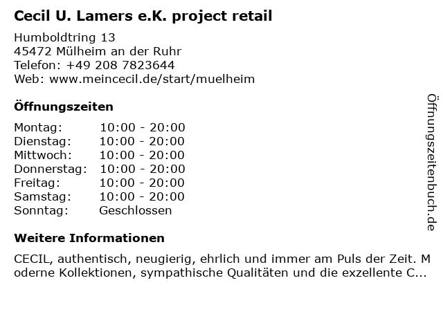 Cecil U. Lamers e.K. project retail in Mülheim an der Ruhr: Adresse und Öffnungszeiten