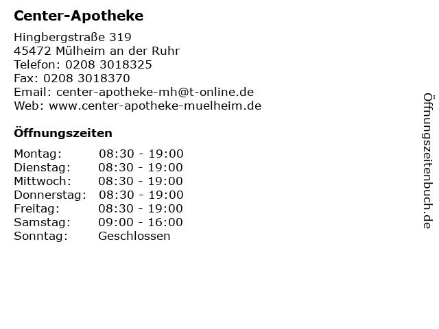 Center-Apotheke in Mülheim an der Ruhr: Adresse und Öffnungszeiten