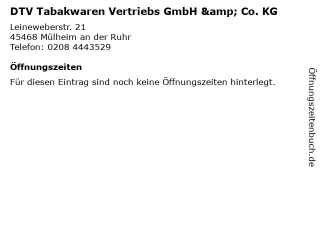 DTV Tabakwaren Vertriebs GmbH & Co. KG in Mülheim an der Ruhr: Adresse und Öffnungszeiten