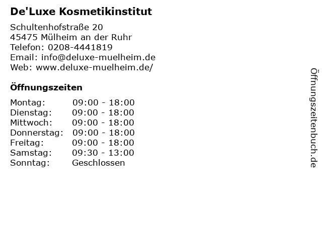 De'Luxe Kosmetikinstitut in Mülheim an der Ruhr: Adresse und Öffnungszeiten