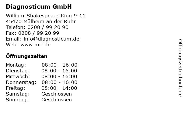 Diagnosticum GmbH in Mülheim an der Ruhr: Adresse und Öffnungszeiten