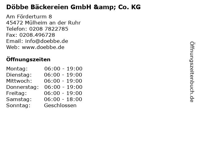 Döbbe Bäckereien GmbH & Co. KG in Mülheim an der Ruhr: Adresse und Öffnungszeiten