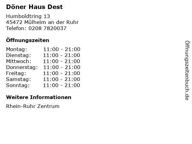 Döner Haus Dest in Mülheim an der Ruhr: Adresse und Öffnungszeiten