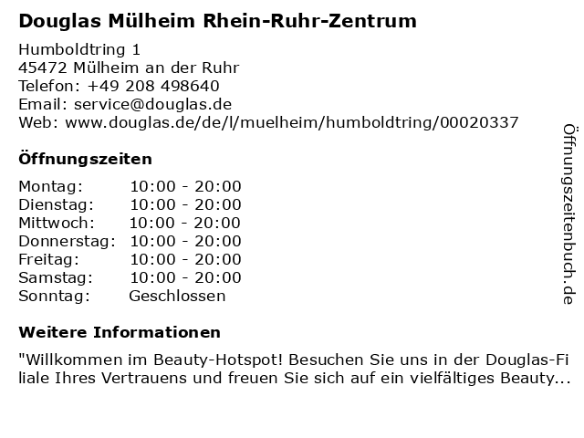 Parfümerie Douglas Mülheim an der Ruhr in Mülheim an der Ruhr: Adresse und Öffnungszeiten