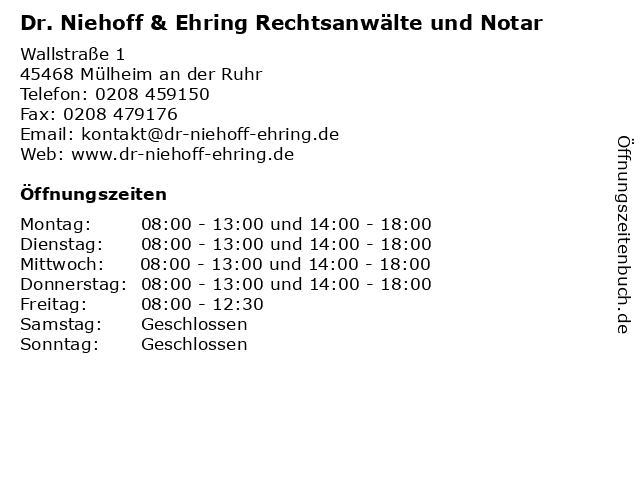 Dr. Niehoff & Ehring Rechtsanwälte und Notar in Mülheim an der Ruhr: Adresse und Öffnungszeiten