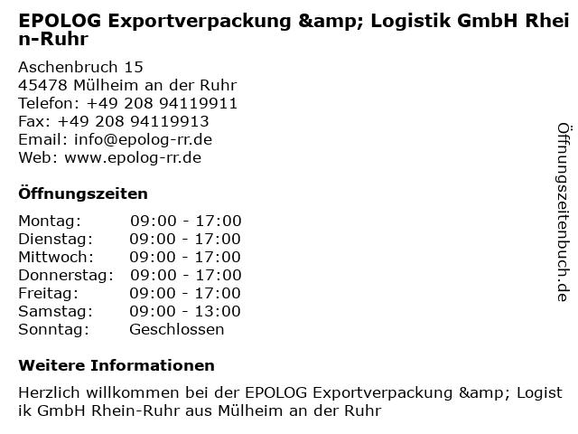 EPOLOG Exportverpackung & Logistik GmbH Rhein-Ruhr in Mülheim an der Ruhr: Adresse und Öffnungszeiten