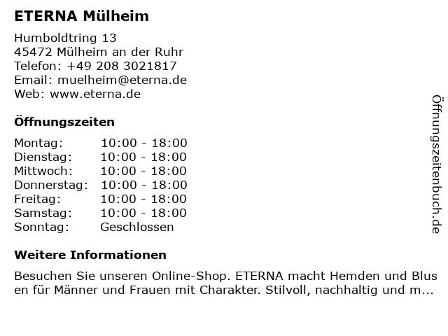 ETERNA Mülheim in Mülheim an der Ruhr: Adresse und Öffnungszeiten