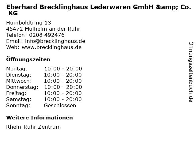 Eberhard Brecklinghaus Lederwaren GmbH & Co. KG in Mülheim an der Ruhr: Adresse und Öffnungszeiten