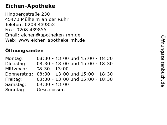 Eichen-Apotheke in Mülheim an der Ruhr: Adresse und Öffnungszeiten